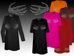 SOLD OUT! Black or Royal Sparkly Rhinestud Rhinestone Skeleton Hands Plus Size T-Shirts
