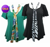 SOLD OUT!!! Sea Green or Black Plus Size Slinky Tops with Tie! 4x