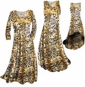 CLEARANCE! Black Ornate With Gold Metallic Slinky Print Plus Size & Supersize Dress 1x