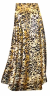 CLEARANCE! Plus Size Black Ornate With Gold Metallic Slinky Print Skirt 4x