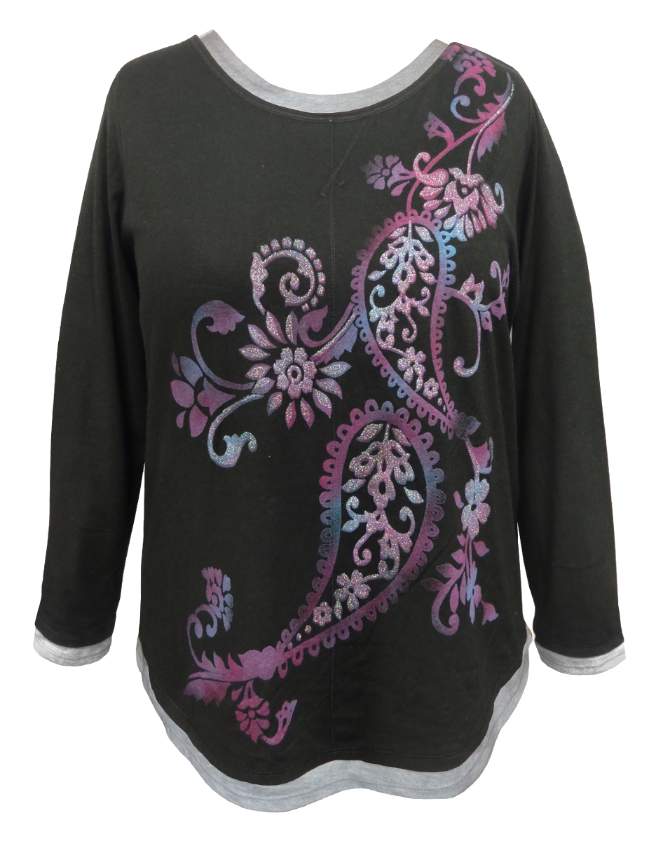 Sale Black Paisley Glittery Long Sleeve Plus Size Shirt