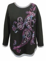 SOLD OUT! SALE! Black Paisley Glittery Long Sleeve Plus Size Shirt 2x