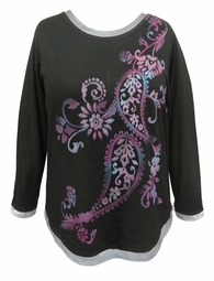 SOLD OUT! CLEARANCE! Black Paisley Glittery Long Sleeve Plus Size Shirt 4x