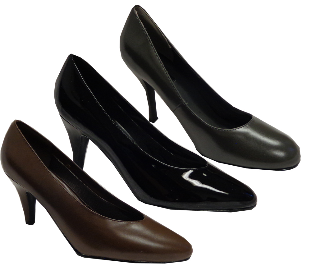 c0c76ab29f Black Patent Leather Shiny or Brown or Royal Blue Satin Heel Pump Shoes  Wide Width Size 9W,