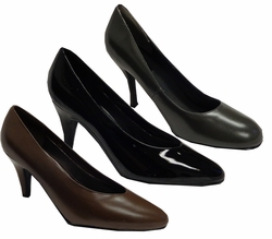 SOLD OUT! ! SALE! Black Patent Leather Shiny or Brown or Royal Blue Satin Heel Pump Shoes Wide Width Size 9W,