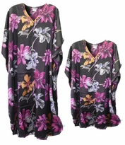 SOLD OUT! Black & Pink Floral Print Poly/Satin Plus Size & Supersize Caftan Dress or Shirt 1x to 6x