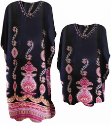 SOLD OUT! SALE! Black & Pink Paisley Print Poly/Satin Plus Size & Supersize Caftan Dress or Shirt 1x to 6x