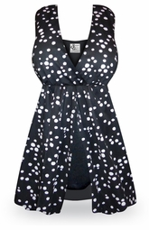 CLEARANCE! Black Polka Dot One-Piece Swimsuit with Flyaway Front Plus Size & SuperSize 2x