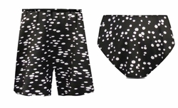 CLEARANCE! Black Polka Dot Print Bottoms & Shorts Swimsuit Separates! 1x 3x