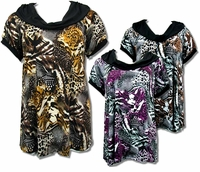 SALE! Brown & Black Leopard Print Plus Size Slinky Tops 4x