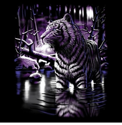 SOLD OUT! Black Shimmering Tiger in Lake Plus Size & Supersize T-Shirts S M L XL 2x 3x 4x 5x 6x 7x 8x