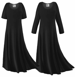 FINAL CLEARANCE SALE! Plus Size Black Slinky Sleeved Dresses XL 0x 1x 2x 3x 7x