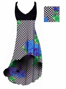CLEARANCE! Black & White Checkerboard With Blue Roses Print Slinky Plus Size Hi-Low Empire Waist Dress add Matching Wrap 1x