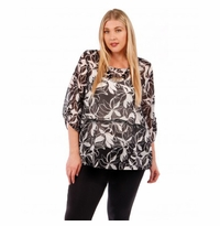 SALE! Black & White Floral Plus Size Layered Chiffon Top 4x 5x 6x