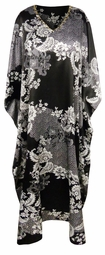 SALE! Plus Size Black & White Floral Print Long Caftan Dress or Shirt 1x-6x