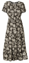 SOLD OUT! SALE! Black & White Print Smocked Peasant Plus Size Dress 5x