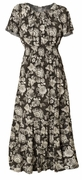 SALE! Black & White Print Smocked Peasant Plus Size Dress 4x