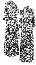 SOLD OUT! CLEARANCE! Black & White Thick Tiger Stripes Print Plus Size & Supersize Robe 8x