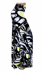 SALE! Black White & Yellow Slinky Print Special Order Customizable Plus Size & Supersize Pants, Capri's, Palazzos or Skirts! Lg to 9x