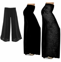 CLEARANCE! Black Wide Leg Palazzo Pants in Slinky, Velvet or Cotton Fabric - Plus Size & Supersize XL 0x 2x 4x