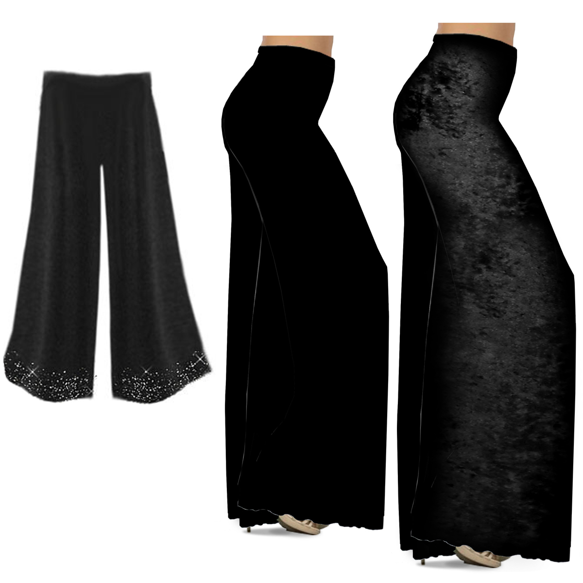 0f92894286475 CLEARANCE! Black Slinky or Cotton Plus Size Wide Leg Palazzo Pants M ...