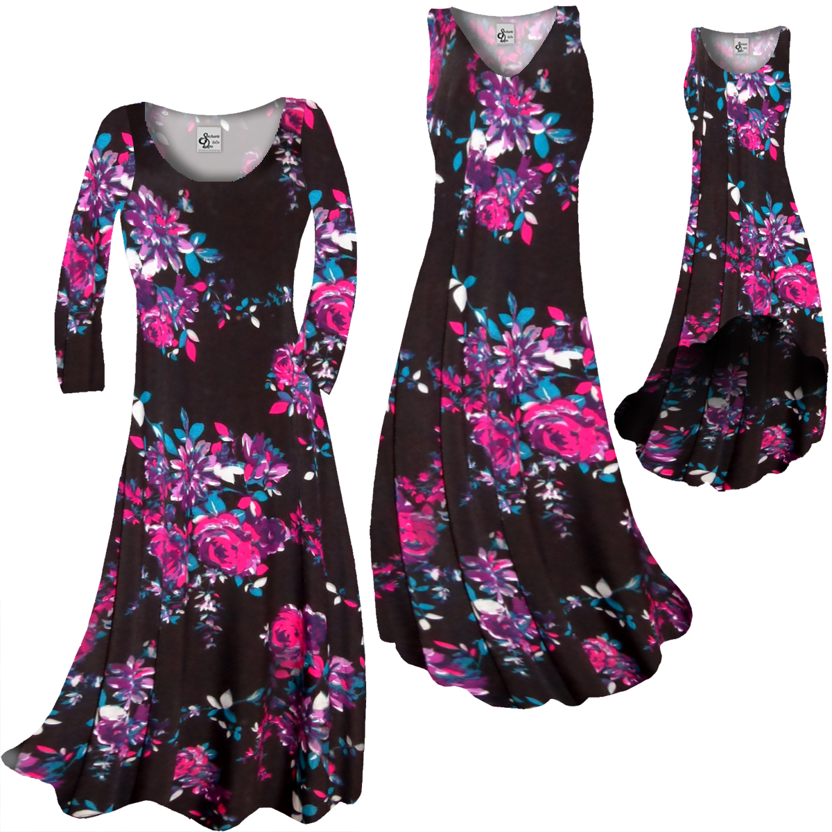 4447f716690 SOLD OUT! CLEARANCE! Plus Size Black With Fuchsia Rose Buds Slinky ...