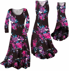 CLEARANCE! Black With Fuchsia Rose Buds Slinky Print Plus Size & Supersize Dresses  XL