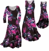 CLEARANCE! Plus Size Black With Fuchsia Rose Buds Slinky Print Tank Dresses XL