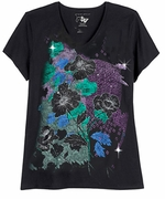 CLEARANCE! SALE! SALE! Just Reduced! Black With Magenta Geo Cubes Glittery Floral Plus Size T-Shirt 5x