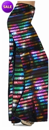 SOLD OUT! SALE! Black with Rainbow Rows Metallic Shiny Slinky Print Special Order Plus Size & Supersize Palazzo Pants 1x