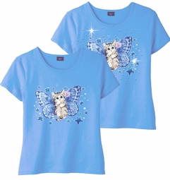 SOLD OUT! Blue Fairy Kitten & Add Rhinestuds Light Blue Round Neck Petite Plus Size T-Shirt 2x 3x