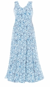 SOLD OUT! SALE! Blue Floral V-Nckline Flared Maxi Dress Plus Size 3x 4x