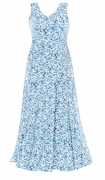 SALE! Blue Floral V-Nckline Flared Maxi Dress Plus Size 3x 4x