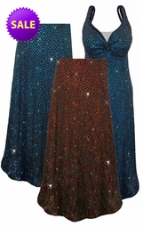 SOLD OUT! Blue or Red/Orange Glitter Dots Slinky Print Plus Size & Supersize A Line Tunic Tops, Dresses, Jackets, Pants, Capri's, Palazzos or Skirts 2x 3x