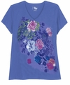 SOLD OUT! Periwinkle Blue With Rose Bursts Glittery Floral Plus Size T-Shirt