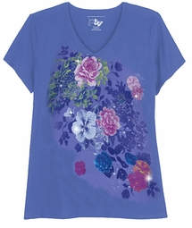 CLEARANCE! Periwinkle Blue With Rose Bursts Glittery Floral Plus Size T-Shirt 4x 5x