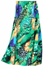 CLEARANCE! Blue & Yellow Floral Speckled Paradise Slinky Print Plus Size Supersize Skirt 1x