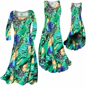 CLEARANCE! Blue & Yellow Floral Speckled Paradise Slinky Print Plus Size & Supersize Standard Dress 1x