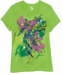 CLEARANCE! Bright Green Glittery Floral Plus Size T-Shirt 4x