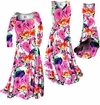 SOLD OUT! Bright Pink & Orange Bellflowers Floral Slinky Print Plus Size A-Line Dresses