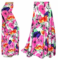 SOLD OUT! SALE!  Bright Pink & Orange Bellflowers Floral Slinky Print Special Order Plus Size & Supersize Pants
