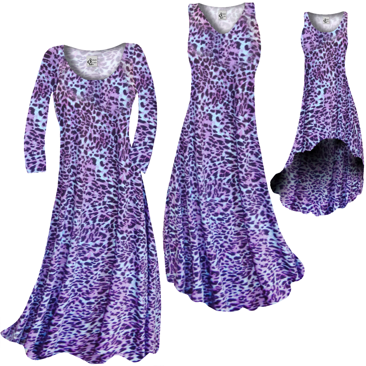 1356f0b8ae09f FINAL CLEARANCE SALE! Bright Purple   Light Blue Leopard Spots Slinky Print  Plus Size   Supersize Standard or Cascading A-Line or Princess Cut Dresses  0x 6x
