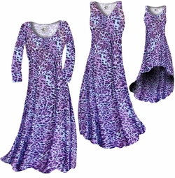 FINAL CLEARANCE SALE! Bright Purple & Light Blue Leopard Spots Slinky Print Plus Size Dresses 0x