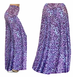 SOLD OUT! CLEARANCE! Bright Purple & Light Blue Leopard Spots Slinky Print Plus Size Supersize Palazzo Pants 1x