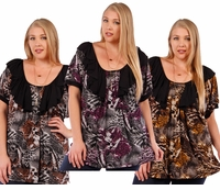 SALE! Brown, Gray or Purple Plus Size Slinky Animal Print Shirts