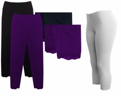 SOLD OUT! SALE! Purple or White Lace Bottom Capri Plus Size Leggings 2x 3x 4x