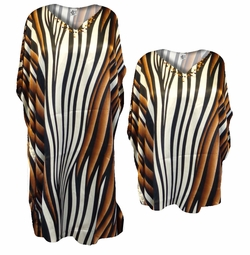 SOLD OUT! Brown, White, Black Stripes Poly/Satin Plus Size & Supersize Caftan Dress or Shirt 1x to 6x