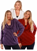 SALE! Burgundy, Red, White, or Purple Cowl Neck Design Plus Size Long Sleeve Lurex Top 4x