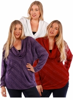 SOLD OUT! SALE! Burgundy, Red, White, or Purple Cowl Neck Design Plus Size Long Sleeve Lurex Top 4x