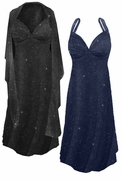 CLEARANCE! Plus Size 2-Piece Navy Slinky w/Glitter Dots Princess Seam Dress Set 6x